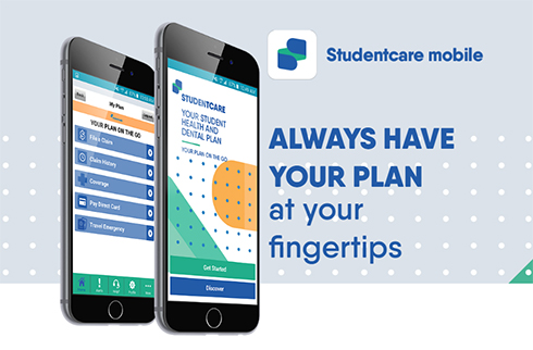 Graphic of smartphone with link to studentcare.ca mobile app.